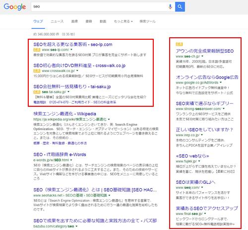 「SEO」と検索した時の結果画面でリスティング広告の部分を囲っている画像