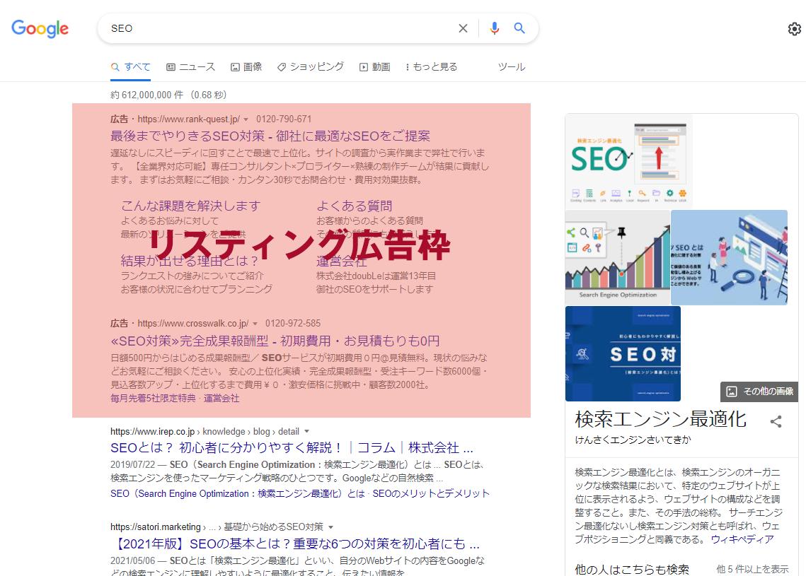 検索結果上のリスティング広告枠